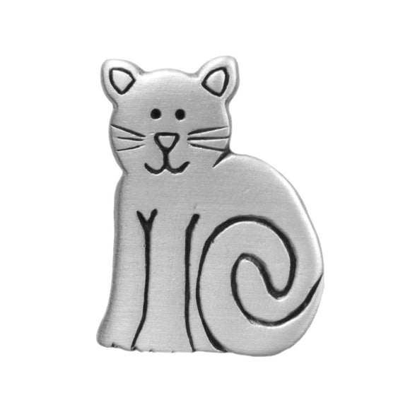 Sitting Cat Pewter Pin