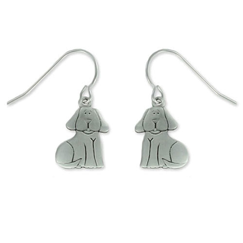 Sitting Dog Pewter Drop Earrings