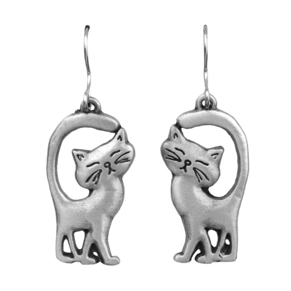 Cat with Tails Up Pewter Drop Earrings