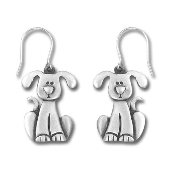 Dog with Drop Ears Pewter Drop Earrings