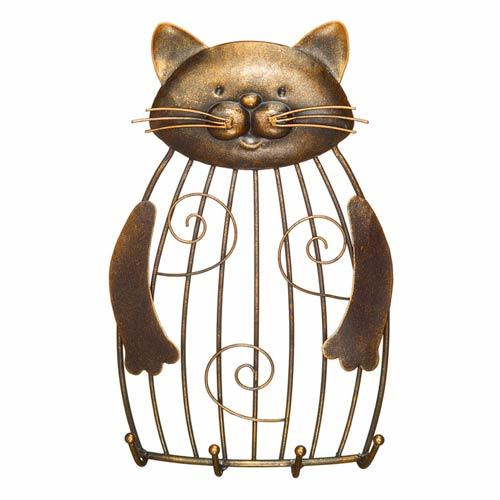 Cat Figurine Keyring Photo Holder Metal Art