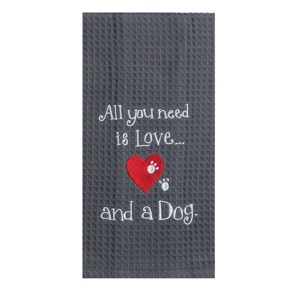 Love Dog - Embroidered Waffle Cotton Towel
