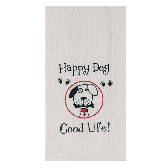 Happy Dog - Embroidered Waffle Cotton Towel