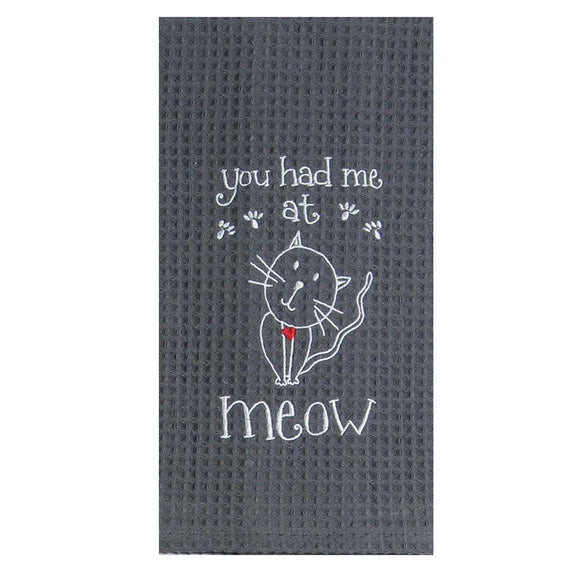 Meow Cat - Embroidered Waffle Cotton Towel