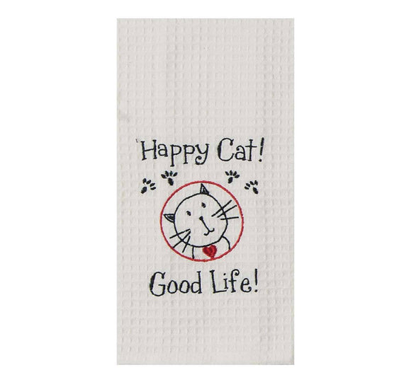 Happy Cat - Embroidered Waffle Cotton Towel