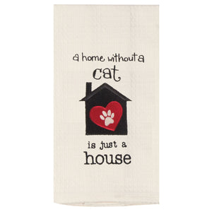 Cat Home House - Embroidered Waffle Cotton Towel