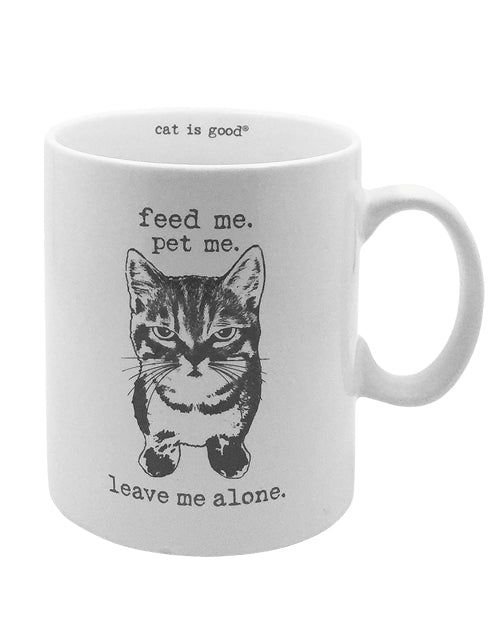 Feed Me, Pet Me, Leave Me Alone Cat Mug