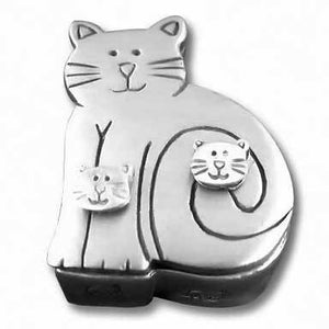Pewter Cat Jewelry Box Set w/Cat Post Earrings, Pin & Necklace