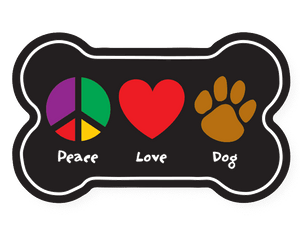 Peace, Love, Dog Bone Magnet - Car Magnet