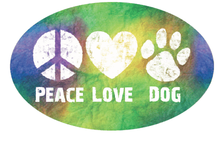 Peace, Love, Dog Tie-Dye Magnet - Oval Magnet