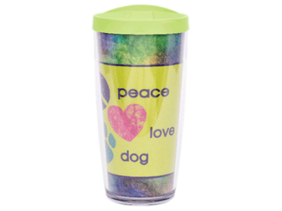 Peace Love Dog w/Lime Lid - Drinkware