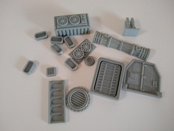 3D printed sci-fi greebles for adding to scratch built buildings in Star Wars Legion