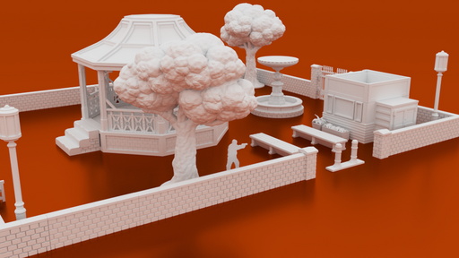 Corvus Games Terrain 3D printable 28mm Small Public Park for Marvel Crisis Protocol, The Walking Dead All Out War