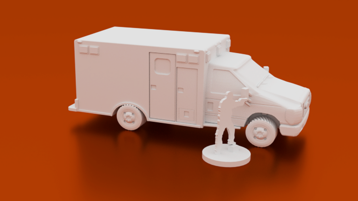 Corvus Games Terrain 3D printable Ambulance EMS truck for urban games like Fallout, The Walking Dead, This Is Not a Test, Marvel Crisis Protocol, Last Days