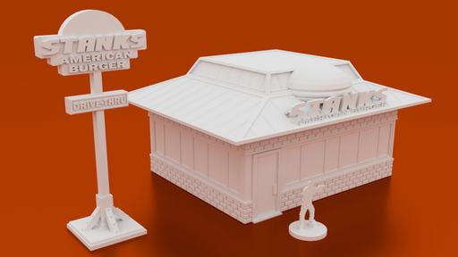 Corvus Games Terrain 3D printable American Burger Fast Food restaurant for urban games like Fallout, The Walking Dead, This Is Not a Test, Marvel Crisis Protocol, Last Days