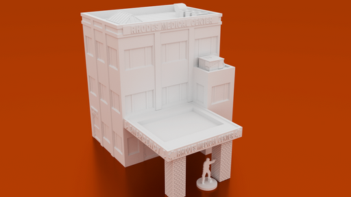 Corvus Games Terrain 3D printable Medical Center for 28mm urban wargaming