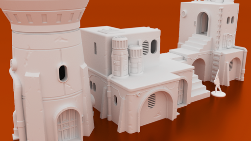 Corvus Games Terrain 3D printable Pilgrim City building for Star Wars Legion, Infinity, 28mm - 34mm