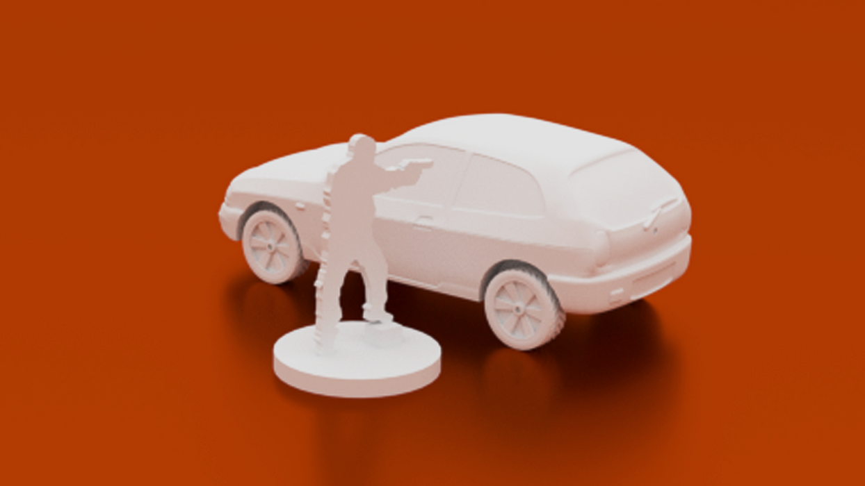 Corvus Games Terrain 3D printable Small car  for urban games like Fallout, The Walking Dead, This Is Not a Test, Marvel Crisis Protocol, Last Days 28mm
