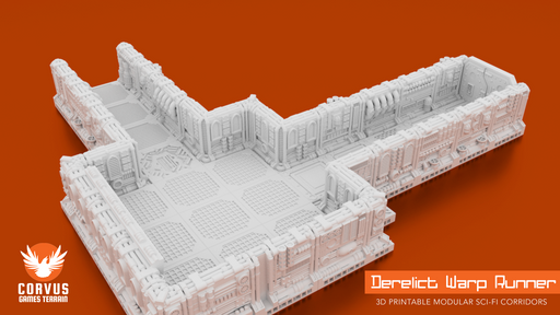 Corvus Games Terrain 3D printable Space Hulk modular terrain Warp Runner Sample Layout Walls and Floor Tiles
