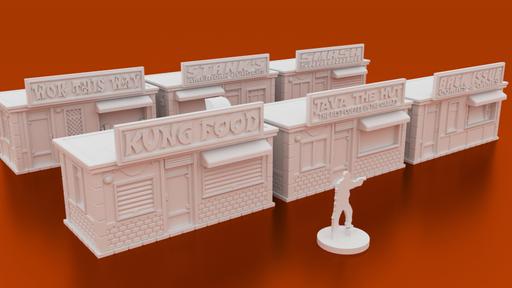 Corvus Games Terrain 3D printable Street Vendor Buildings for urban games like Fallout, The Walking Dead, This Is Not a Test, Marvel Crisis Protocol, Last Days