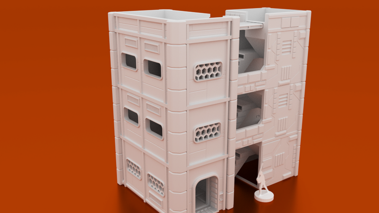 Corvus Games Terrain 3D printable apartment building for Star Wars Legion, Infinity, Warpath, Marvel Crisis Protocol apartment block with stairwell