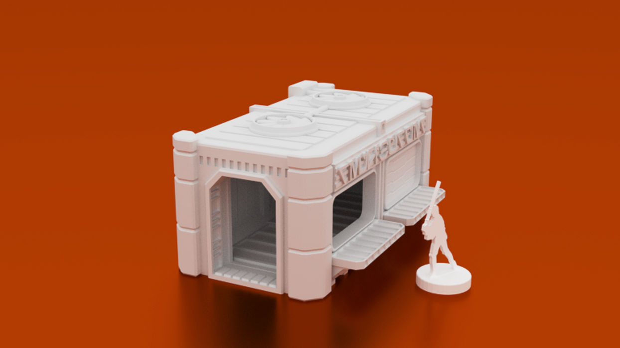 Corvus Games Terrain 3D printable food stand. scifi 28mm tabletop wargaming terrain for Marvel Crisis Protocol, Infinity, Star Wars Legion, Necromunda, Star Breach and Warpath