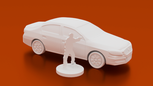 Corvus Games Terrain 3D printable midsize saloon sedan car for urban games like Fallout, The Walking Dead, This Is Not a Test, Marvel Crisis Protocol, Last Days 40mm