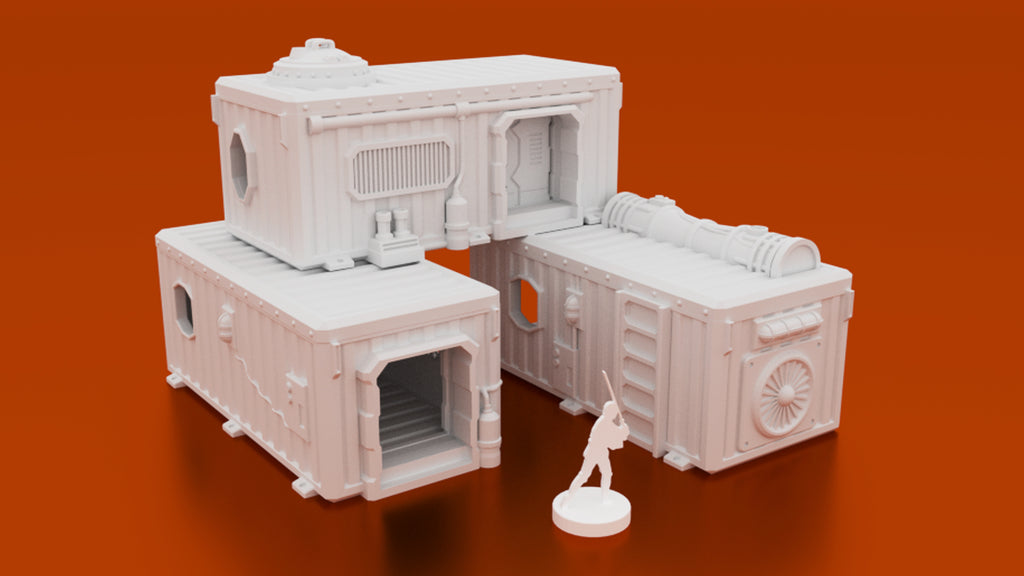 photo regarding Printable Buildings identified as Underhive Container Hab Structures Electronic STL 3D printable