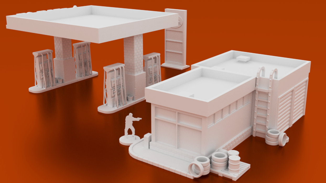 Corvus Games Terrain 3D printable urban Gas Station for survival post apocalyptic games like Last Days, Fallout, The Walking Dead, Marvel Crisis Protocol