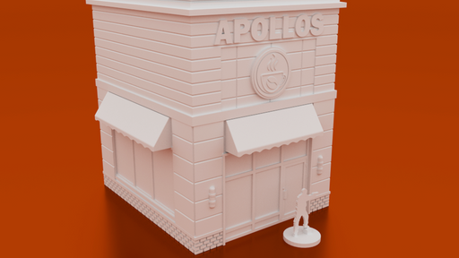 Corvus Games Terrain 3D printable Apollos Coffee Shop for urban games like Fallout, The Walking Dead, This Is Not a Test, Marvel Crisis Protocol