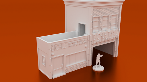 Corvus Games Terrain 3D printable Bickle Taxi Office Dice Tower for urban games like Fallout, The Walking Dead, This Is Not a Test, Marvel Crisis Protocol 28mm modern