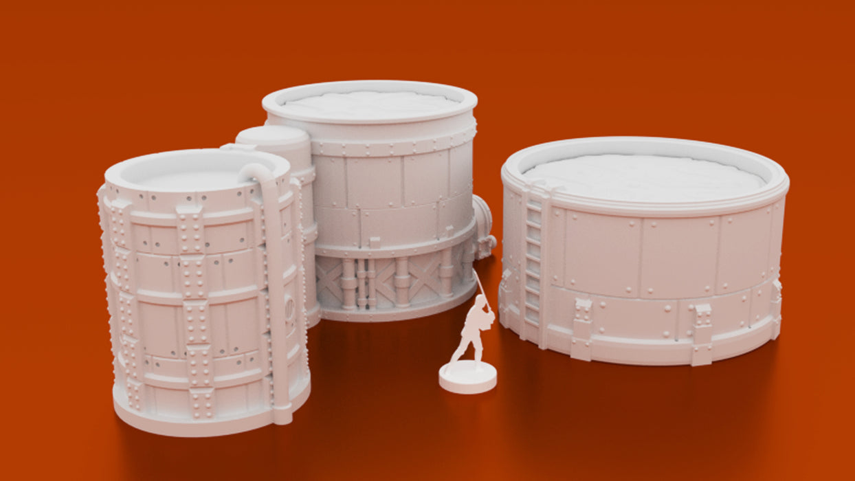 Corvus Games Terrain 3D printable Chemical Storage Vats and Tanks for 28mm wargames like Warhammer 40K, Kill Team, Infinity, Necromunda, Fallout and Star Wars Legion