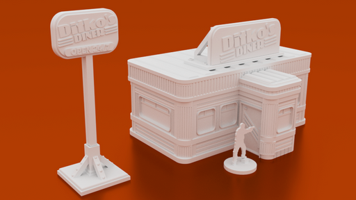 Corvus Games Terrain 3D printable City DIner for urban games like Fallout, The Walking Dead, This Is Not a Test, Marvel Crisis Protocol, Last Days 28mm scale