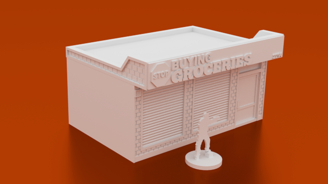 Corvus Games Terrain 3D printable Convenience Store for urban games like Fallout, The Walking Dead, This Is Not a Test, Marvel Crisis Protocol