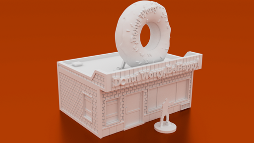 Corvus Games Terrain 3D printable Donut Shop for urban games like Fallout, The Walking Dead, This Is Not a Test, Marvel Crisis Protocol