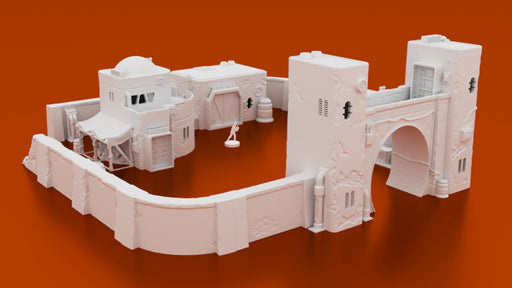 Corvus Games Terrain 3D printable Jedha scenery from Rogue One, junk dealers compound for Star Wars Legion