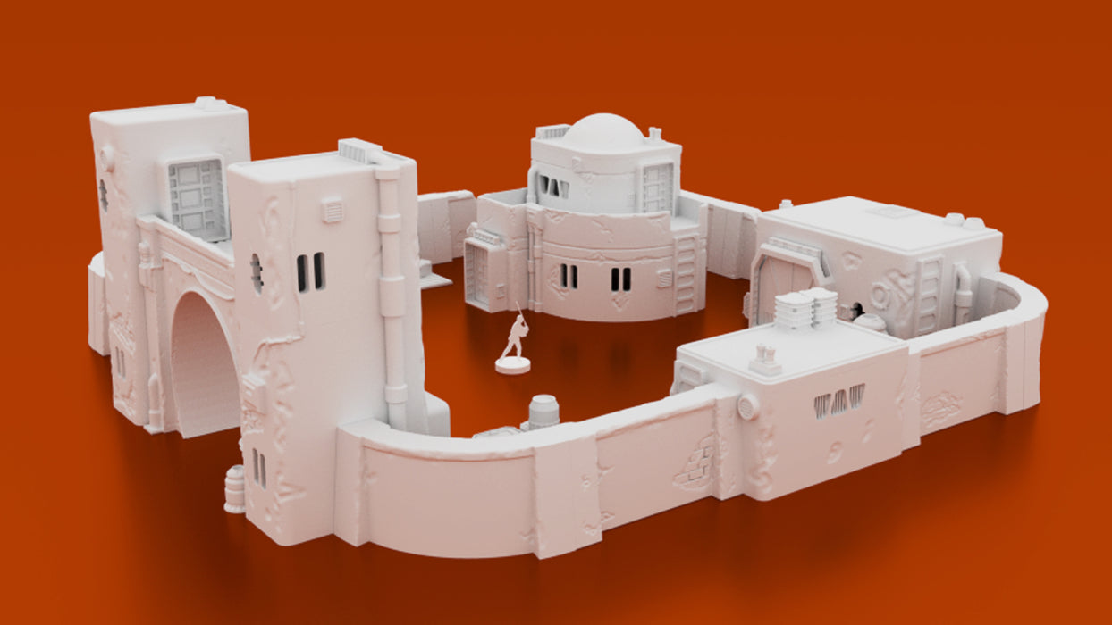 Corvus Games Terrain 3D printable Jedha scenery from Rogue One, junk dealers compound for Star Wars Legion tabletop game