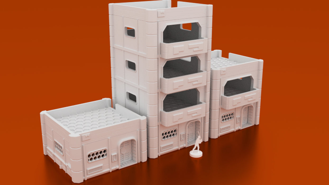 Corvus Games Terrain 3D printable MidRim City Apartment block for Star Wars Legion, Warhammer 40k, Infinity