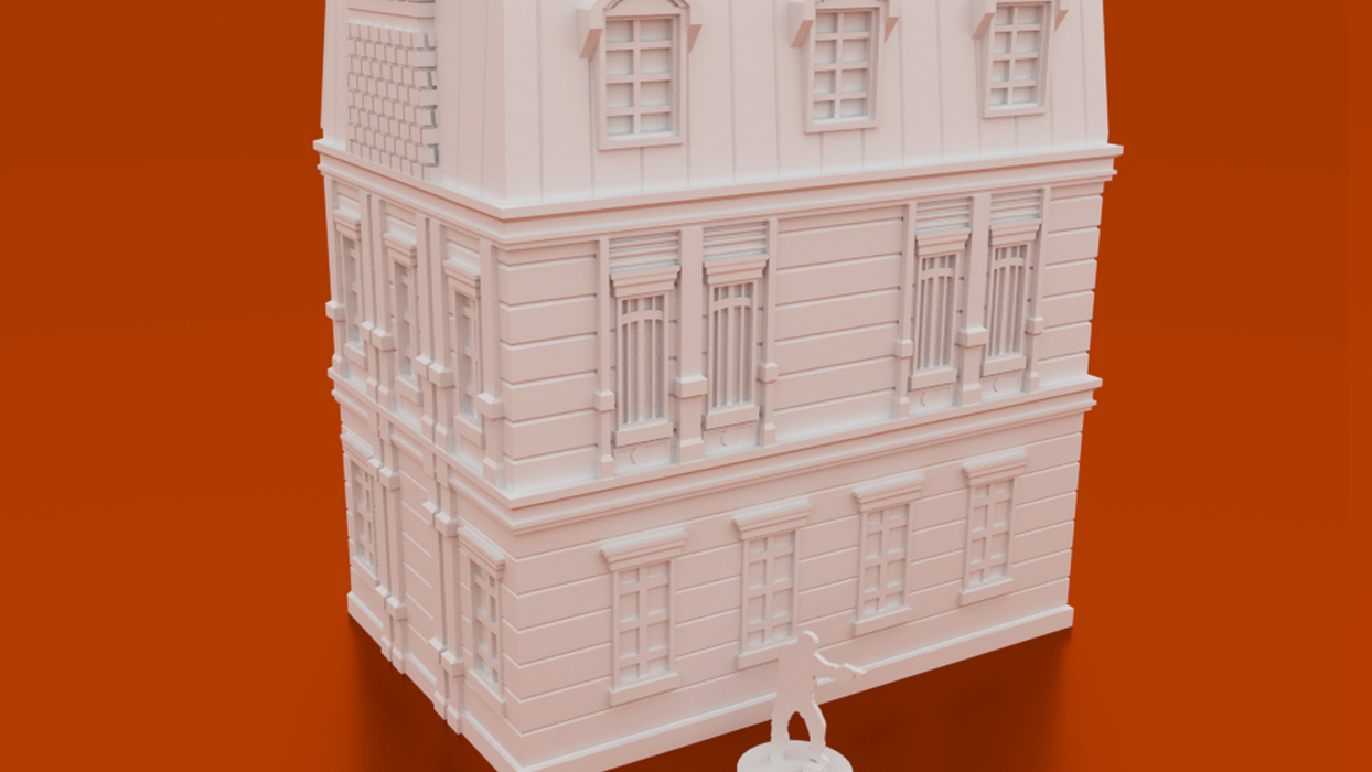 Corvus Games Terrain 3D printable Mystical House for urban games like Fallout, The Walking Dead, This Is Not a Test, Marvel Crisis Protocol, Last Days Doctor Strange Bleecker Street