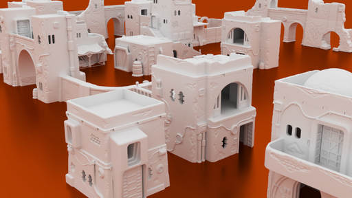 Corvus Games Terrain 3D printable Pilgrim City Building bundle for Star Wars Legion wargaming