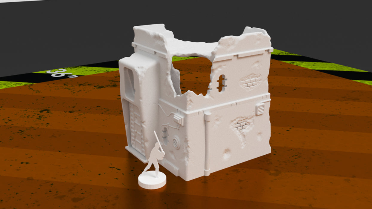 Corvus Games Terrain 3D printable Pilgrim City ruined building for Jedha in Star Wars Legion 34mm tabletop miniatures game