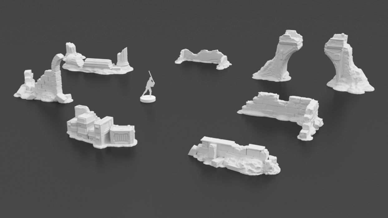 Corvus Games Terrain 3D printable Pilgrim City ruins for Star Wars Legion tabletop game