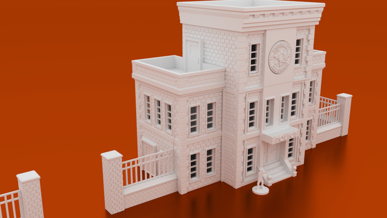 Corvus Games Terrain 3D printable Police Station for urban 28mm and 40mm tabletop games like The Walking Dead All Out War, Fallout, Last Days, and Marvel Crisis Protocol