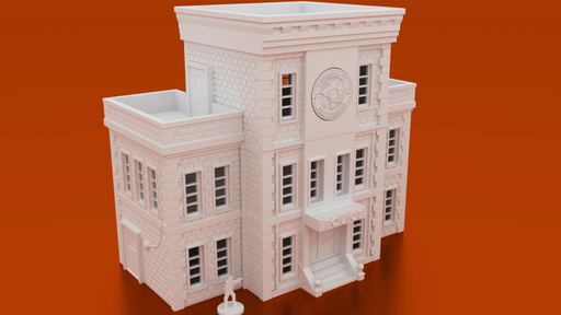 Corvus Games Terrain 3D printable Police Station for urban 28mm tabletop games like The Walking Dead All Out War, Fallout, Last Days, and Marvel Crisis Protocol