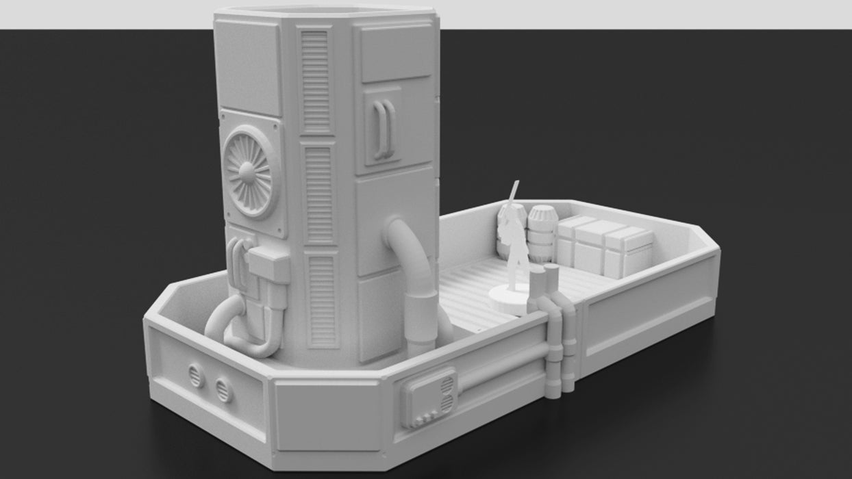 Corvus Games Terrain 3D printable Pumping Station Dice Tower for Star Wars Legion, Necromunda, Warhammer 40000 and Infinity