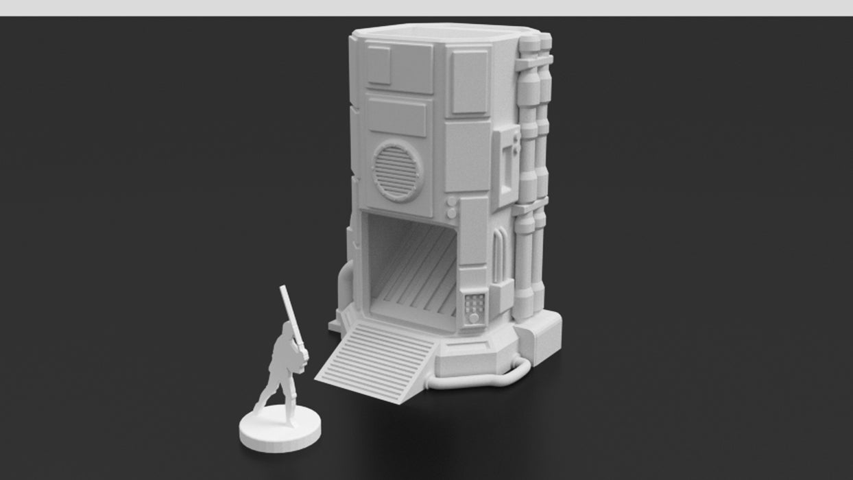Corvus Games Terrain 3D printable Pumping Station Dice Tower for Star Wars Legion, Necromunda and Warhammer 40K