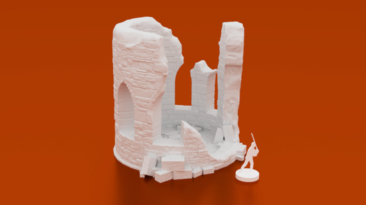 Corvus Games Terrain 3D printable Ruined Wizards Tower for Fantasy 28mm wargames like Warhammer Age of Sigmar, Frostgrave