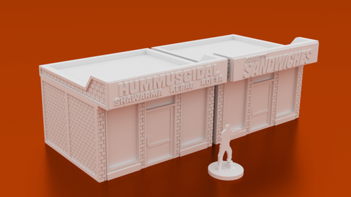Corvus Games Terrain 3D printable Sandwich Shop for urban games like Fallout, The Walking Dead, This Is Not a Test, Marvel Crisis Protocol