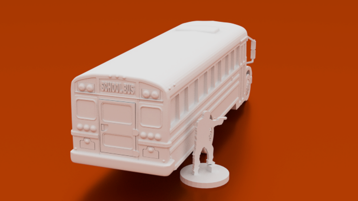 Corvus Games Terrain 3D printable School Bus for urban games like Fallout, The Walking Dead, This Is Not a Test, Marvel Crisis Protocol, Last Days 28mm modern urban