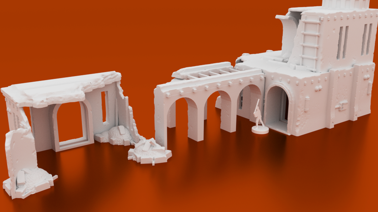 Corvus Games Terrain 3D printable Star Wars Legion scenery Kaarsohns Refuge compound ruins